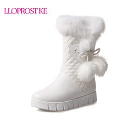 Lady Snow Boots Mid Calf Australia - Lloprost Ke New Winter Warm Snow Boots Fashion Faux Fur Ladies Shoes Wedges Heels Mid-calf Boots Women PU Leather Boots ZZ019