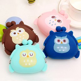silicone wallet zipper 2019 - Owl Silicone Coin Purse Kids Gift Cartoon Trendy Baby Mini Coin Bag Lady Change Purse Women Smart Wallets Lady discount
