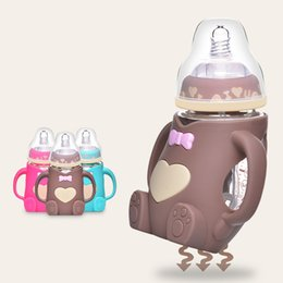Wholesale Baby Bottles Newborn Baby Width Caliber Feeding Bottle Defence Fall Flatulence With Handle Baby Feed Glass Bottle