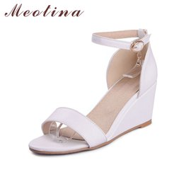cbfd17e07b054 Meotina Shoes Women Sandals Summer Open Toe Party High Heel Wedges Platform  Sandals Crystal Ladies Shoes Green Large Size 42 43