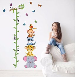 baby girl room wall stickers 2019 - Cute animals stack height measure wall stickers decal kids adhesive vinyl wallpaper mural baby girl boy room nursery dec