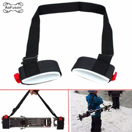 Hand Hooked Bag Australia - Adjustable Skiing Pole Shoulder Hand Carrier Lash Handle Straps Porter Hook Loop Protecting Black Nylon Ski Handle Strap Bags