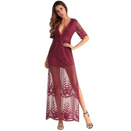 $enCountryForm.capitalKeyWord UK - Sexy Lace Prom Dresses Back Sheer Hollow Out Summer Casual Long Dress Women V-neck Short Sleeve Evening Gowns