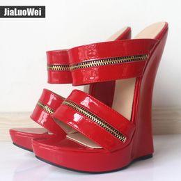 $enCountryForm.capitalKeyWord Canada - Women Sexy High Wedges Heels Shoes Platform Patent Leather Ankle Strap Sandals Fashion Summer Pumps Ladies Shoes Pluse szie