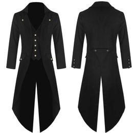 Vente en gros Manteau Robe Hommes Manteau Tailcoat Veste Gothique Robe Uniforme Costume Praty Outwear Mode Hommes longs 2018AUG10