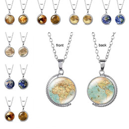 $enCountryForm.capitalKeyWord Australia - Vintage Rotating glass Globe Necklaces Planet World Map Necklace Art Face Glass Round Dome Earth map Pendant Necklace