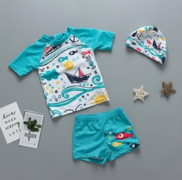 trunks boy swimsuit Canada - Boys swimsuits summer kids sailing printed short sleeve swimwear+fish printed swim trunks 2pcs sets children beach split swimming Y7114