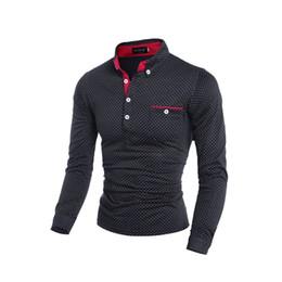 Short Sleeved Sweater men online shopping - Men Shirt Brand Male Long Sleeved Casual Wear Thin Polka Dot Button Pocket Pole Men Sweaters M XL