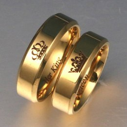 $enCountryForm.capitalKeyWord Australia - whole saleHis Queen Her King Fashion Womens Dating Jewelry For Couple LOVES 6mm Wide Simple Ring For Lovers