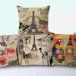 $enCountryForm.capitalKeyWord UK - New Pillow Case 4 Styles Hot Cotton Eiffel Tower Pattern Pillow Sets Home Sofa Bed Chair Decoration Waist Cushion Covers