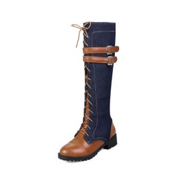 Large cowboy boots online shopping - british denim lace up knee high boots women leather cowboy square heel woman knight boots winter buckle large size zx886