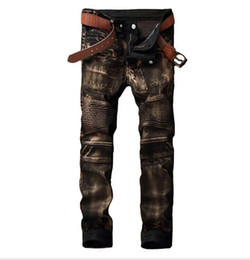 Men trousers size 36 black online shopping - Designer Mens Biker Jean Trousers Hi Street Slim Fit Painted Denim Joggers Male Straight Pleated Moto Jeans Pants Size