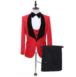 noir tuxedo veste cravate rouge achat en gros de-news_sitemap_homeTuxedos de mariage Paisley Hommes rouge Excellent smoking Tuxedos Dîner d affaires côté velours revers noir hommes d affaires Blazer veste pantalon cravate gilet