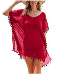 Discount white sheer blouse wholesale - Women Short Chiffon Beach Dress Tassel Pure Color Lady Loose Blouse Summer Casual Beachwear Sun-protective Clothing Smoc