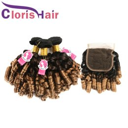 hair human ombre blond 2019 - 1B 4 30 Ombre Human Hair Lace Closure With 3 Bundles Aunty Funmi Romance Curls Virgin Peruvian Blonde Weaves Colored Blo