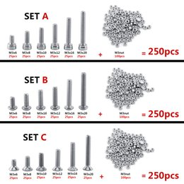 socket bolts NZ - 250pcs set M3 Hex Socket Screws Bolt With Hex Nuts Assortment A2 Stainless Steel Fastener Hardware Cap Button Flat head Optional