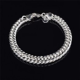 Sterling Silver Figaro Bracelet NZ - 2018 New Design 10MM*20CM plating 925 Sterling silver Figaro chain bracelet Fashion Men's Jewelry Top quality