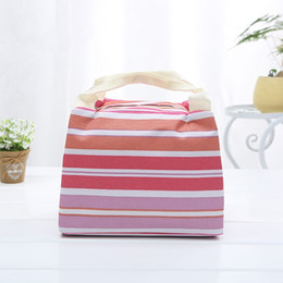 Eco friEndly icE packs online shopping - Canvas Ice Pack Storage Bags Heat Preservation Picnic Stripe Print With Zipper Lunch Storagebag Eco Friendly Constant Temperature xz jj