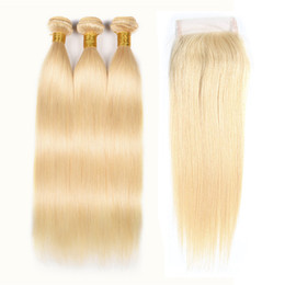 "China #613 Blonde Straight Long Hair 10""-24"" Bundles Closures Cheap Brazilian Peruvian Malaysian Human Hair Weave 3 Bundles With 4*4 Lace Closure suppliers"