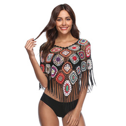 China Womens Tops and Blouses Crocheted Cover Ups Hollow Out Tassels Geometric Boho Kimono Shirts 2018 Summer Tops Beach Bikini Covers cheap black white blouses suppliers