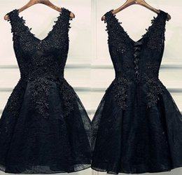 Little Black Cocktail Dresses Lace Sheer V Neck A Line Short Evening Gowns  Formal Girls Special Occasion Homecoming Party Dresses Online f2ed2eb1a
