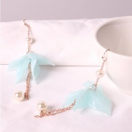 asian tassels wholesale Canada - 2018 European and American Tassel Fashion Earrings Pearl Petal Earrings Women Long Environmental Protection Anti - allergic Ear Accessories