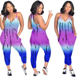 $enCountryForm.capitalKeyWord NZ - womens designer jumpsuit sleeveless backless romper gradient v-neck playsuit loose fashion comfortable suspender pant breathable hot e1