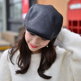 19b308a5 2pcs lot Cowhide Leather Wool Newsboy Cap Middle Aged And Old Man Vintage  Flat Cap Ear Protection Beret Hat 56 58CM 3 Color