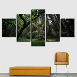 Panels Scenery Canvas Art Prints NZ - Canvas Print Poster Wall Art 5 Pieces Green Forest Natural Scenery Painting Modular Pictures Modern Home Living Room Decor Frame