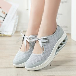 Cheap Light Running Shoes NZ - Weweya Summer Women's Running Shoes Breathable Light Sneakers Swing Wedges Shoes Height Increasing Cheap Trainers Plus Size 42