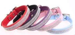black white dog collars 2019 - Wholesale - Pet Dog Cat Collars Leads Colorful Rhinestone diamond PU Leather Crocodile Pattern White S M L cheap black w