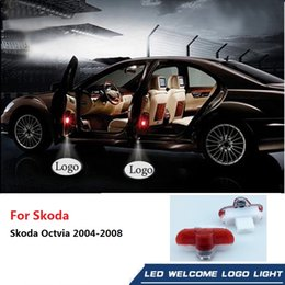 octavia lights NZ - For Skoda Octavia 2004 2005 2006 2007 2008 LED Door Warning Light Logo Projector Laser Ghost Shadow Light