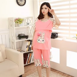1937950a08f74 Summer Cotton Maternity Sleepwear for Pregnant Women Pajamas Nursing Breast  Feeding Nightgown Clothes for Shorts Sleeve Sets