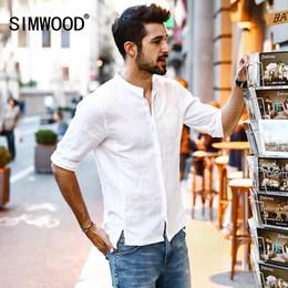 6d14ae22b4b7 Simwood 2018 Summer New Casual Shirts Men Breathable 100 %Pure Linen  Fashiom Three Quarter Slim Fit Brand Clothing Cs1587