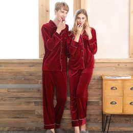 c78d1ffd73 Velvet Pajamas for Women Men Winter Spring Two Piece Pijama Couples Pajama  Set Sleepwear