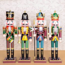 1pcs 30cm wood made nutcracker puppet zakka creative desktop decoration christmas ornaments drawing walnuts soldiers band dolls - Christmas Toy Soldiers