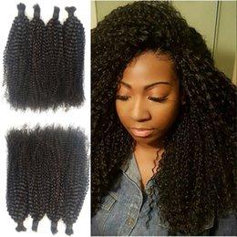 Brazilian Kinky Curly Braiding Hair UK - Indian Human Hair Kinky Curly Human Hair Bulk For Braiding Natural Color Top Quality Bulk Hair FDSHINE
