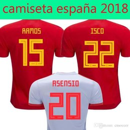 fd3211de2 The best Price Russia World Cup 2018 spain home red away white soccer Jersey  wholesale 17 18 ISCO España away football shirt Free shipping