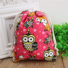 $enCountryForm.capitalKeyWord NZ - Red Owl Fox Cotton Linen Gift Packaing Pouch 9x12cm 10x15cm 13x17cm Makeup Jewelry Drawstring Bag