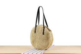 PaPer woven bags online shopping - New simple round shoulder straw bag handmade paper woven beach bag fashion handbag