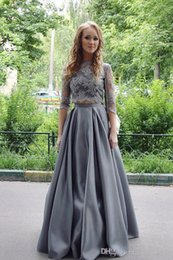 $enCountryForm.capitalKeyWord NZ - Grey Lace Prom Dresses 3 4 Long Sleeves Jewel Formal Dresses Evening Wear Plus Size Custom Made SP051