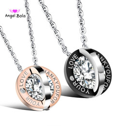 205fe37cd6 Fashion Stainless Steel Mens Womens Couple Necklace Interlocking Double  Circles Pendant Necklace Thank you for your Love CZ Matching Set