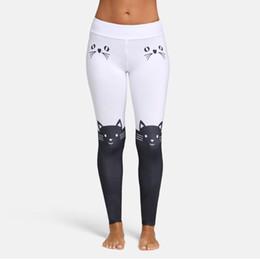 4c6cdfc8013 Black Cat Leggings UK - Fashion Women Leggings Mid Waist Cat Print Color  Block Skinny Pants
