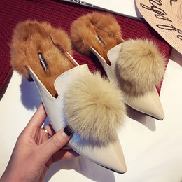 $enCountryForm.capitalKeyWord Canada - 2017 new winter slippers female Korean wear fashion all-match rabbit lazy toe wrap half shoes slippers