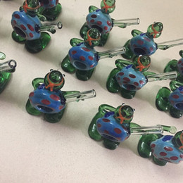 TurTles pipes online shopping - HandPipe Pyrex Glass Colorful Turtle Shape High Quality High Temperature Resistance Smoking Hand Made Pipe Tube Unique Design DHL
