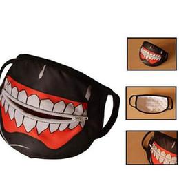 Zipper Teeth Australia - Costume Masks With Zipper Cotton White Teeth Style Black Dust Ear Loop Half Face Mask Tokyo Ghoul Mouth Creative 7gy V