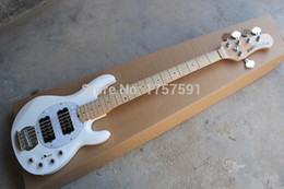 Discount electric bass pickups - High Quality White Music Man 5 Strings Electric Bass guitar with active pickups 9V battery Wholesale Best Free Shipping