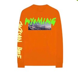 China New Kanye West High Street Hip Hop Hoodies Wyoming Mountains Pattern Letter Printing Sweatshirts Male Casual Long Sleeve Tops cheap long neck tops suppliers