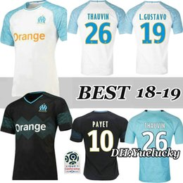 0bab72f47 18 19 Olympique de Marseille white Home 3RD soccer Jersey Thai quality PAYET  L.GUSTAVO THAUVIN Away black 2018 2019 Marseille football shirt