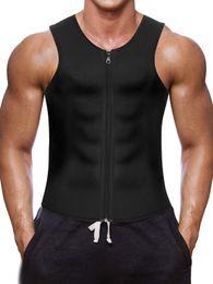 Vente en gros Hommes taille formateur gilet pour Weightloss chaud néoprène Corset Body Shaper Zipper Meilleur Sauna Tank Top Workout Shirt gros